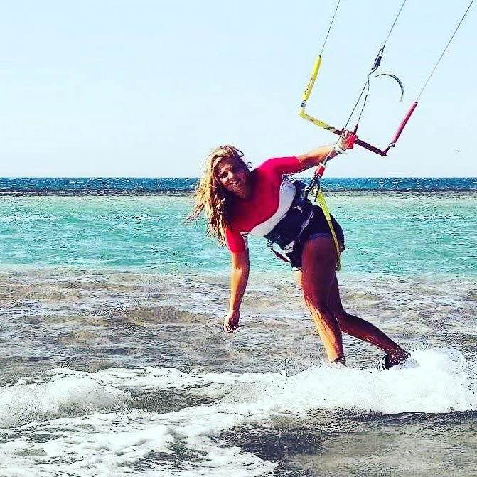 kitesurfing girl for kite event el gouna