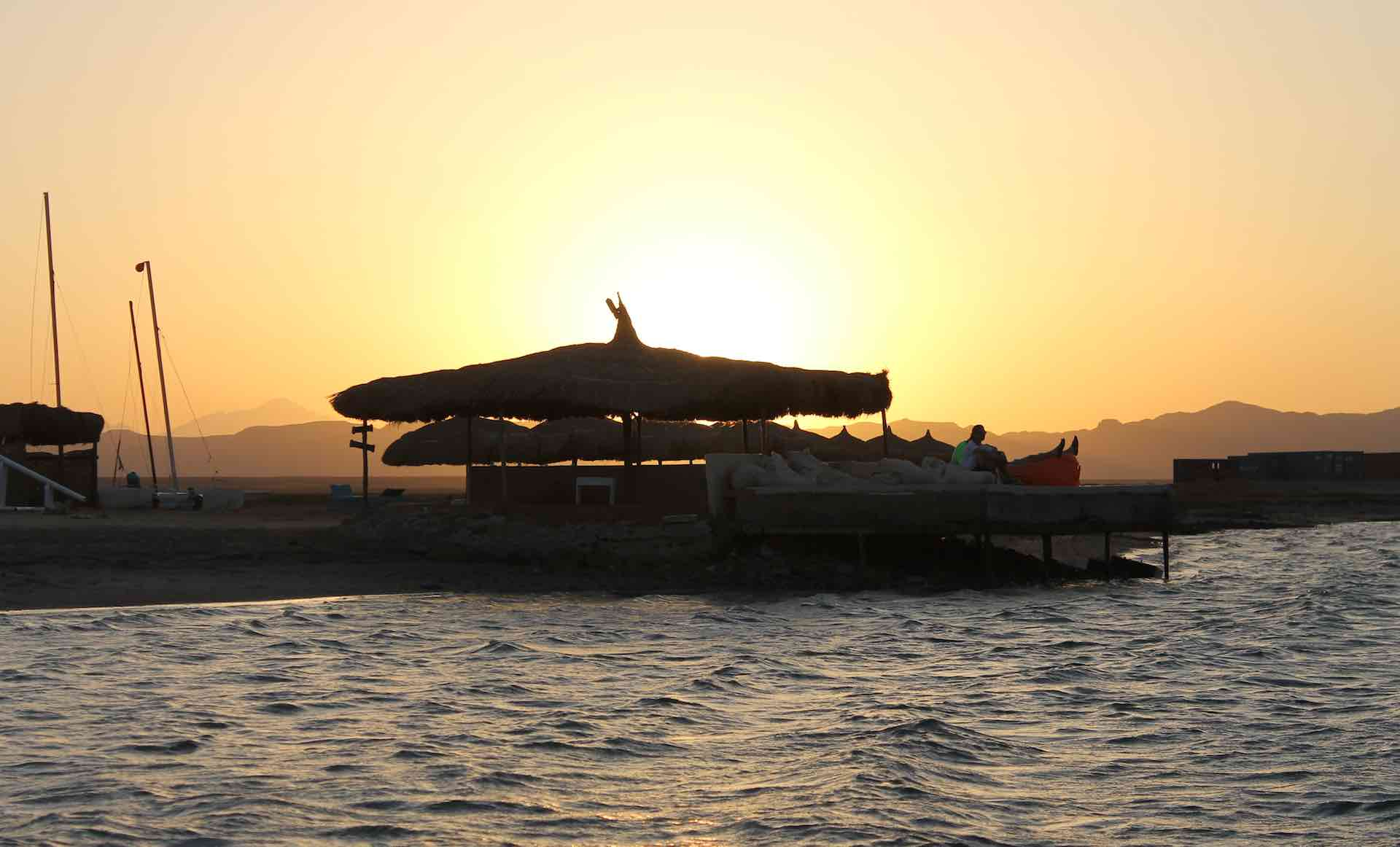Kitesurfing spot beach sunset, El Gouna Egypt