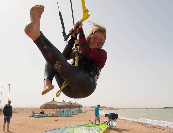 Kitesurfing women kite spot egypt